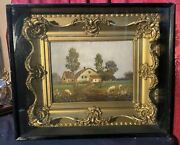 Antique Victorian Gilt Framed Shadowbox Oil Painting Canvas Country Farm W Sheep