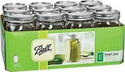 Widemouth, Ball Glass Canning Jars, 12 Pack New Clear, Quart, Screw Top, 32 Oz