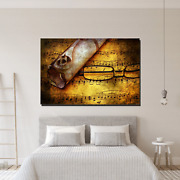 Music Sheet And Old Letter Musical Instruments Canvas Art Print For Wall Decor