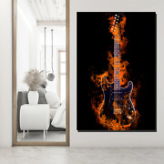Burning Electric Guitar Musical Instruments Canvas Art Print For Wall Decor