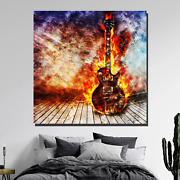 Electric Guitar In Flames Musical Instruments Canvas Art Print For Wall Decor
