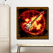 Fire Electric Guitar Musical Instruments Canvas Art Print For Wall Decor