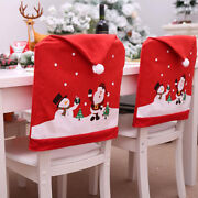 4pcs Christmas Decor Chair Covers Dining Seat Cover Santa Claus Home Party Decor