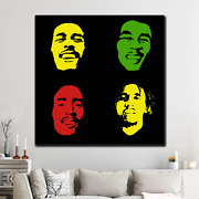 Faces Of Bob Marley Pop Art Inspired Canvas Art Print For Wall Decor