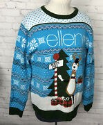 Ellen Show Ugly Christmas Sweater Blue White Reindeer Snowflakes Pullover Xl