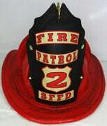 High Eagle Leather Fire Helmet Fire Patrol 2 Sffd Rustic Red Finish