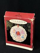 Hallmark Photo Holder Frame Ornament Baby's First Christmas 1993 Lace Trim