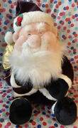 Large Holiday Santa Stuffed Toy White And Maroon With Gold Gift +belt 21 In Tall
