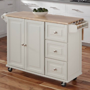 Rolling Kitchen Cart White Mobile Storage Island Wood Top Cabinet Drop Leaf Gift