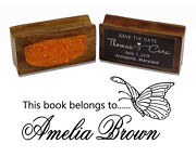 Printtoo Custom Wood Mount Library Rubber Stamp This Book Belongs-sye