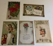 Vintage Lot Of 5 Used Christmas Thanksgiving New Years Postcards 1920s