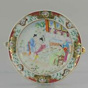 19c Chinese Porcelain Cantonese Polychrome Hot Water Plate Flowers Figures Birds