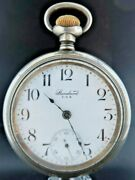 Antique 18 Size Ny Standard Wind Pocket Watch + Sterling And 14k Inlay Train Case