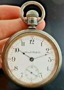 Antique 18 Size Illinois Pocket Watch Grade 69 + Sterling And 14k Inlay Train Case