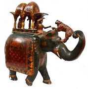 Handcrafted Elephant Figure Rider Sculpture Tiger Hunting Wooden Chapdi Chandras