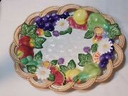 Fitz And Floyd Countryside Figural Canape Plate Embossed Fruit Flowers In Basket