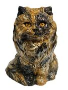 Vintage Large Long Hair Calico Ceramic Cat Statue Figurine Signed Dated 1980