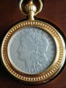 Franklin Mint 1921 Morgan Silver Pocket Watch W Glass And Cherry Wood Case