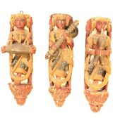 Antique Lady Musician Traditional Figure Set Rare Wood Indian Home Decorative