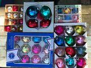 Lot Of 5 Boxes Shiny Brite Holly Glass U.s.a. Christmas Ornaments Vintage