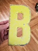 Vintage Antique Metal Marquee Sign Movie Industrial Letter B Neon Yellow 7.5