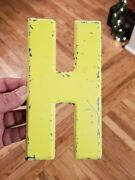 Vintage Antique Metal Marquee Sign Movie Industrial Letter H Neon Yellow 7.5