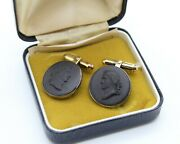 Vintage Sterling Silver Hallmarked Wedgwood Cufflinks Male Cameo Gilt G10 Boxed