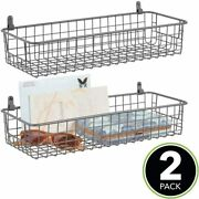 Portable Metal Farmhouse Wall Hanging Basket Bin With Handles 2 Pack-graphite