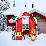 10.7ft Inflatable Christmas Decoration Santa Outdoor Decorations With Elk Led