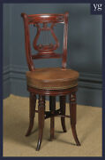 Antique English Regency Mahogany And Leather Revolving Harpist / Cellist Chair