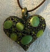 Sharon Tate Orig. Personally Worn/used Metal Puff Heart/stone Pendant/necklace