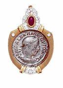 14k Gold Diamond / Ruby Slide Pendant With Silver Roman Coin