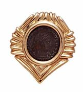 14k Gold Fluted Slide Pendant With Bronze Roman Coin