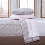 Rare 755 John Robshaw Patta Turquoise Coral Embroidery Queen Quilt Sheet Set