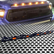 Fit For 14+tundra Sr5 Amber Lens Led Hood Grille Metal Mesh Pattern W/wire