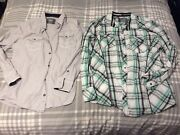 Mens Casual Shirt Lot Of 2 By Bke From The Buckle Sizes Xl Ls Green And Gray