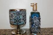 Bath And Body Works Jeweled Snowflakes Pedestal 3 Wick Candle Holder And Soap Holder