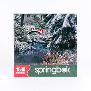 New Sealed 1500 Piece Springbok Winter Puzzle Nature's Crossing 29 X 36