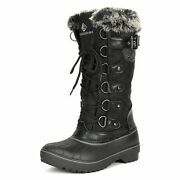 Womenand039s Waterproof Mid Calf Boots Faux Fur Lined Zipper Warm Winter Snow Boots