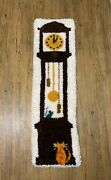Mcm Vintage Grandfather Clock Cat And Mouse Latch Hook Rug Wall Hanging Large