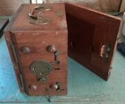 Antique Wood Dovetailed Wooden And Brass Whitehead And Co Torpedo Gyroscope Box Only