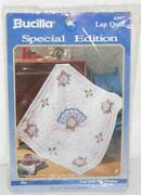 Bucilla Special Edition Fan Lap Quilt Wall Hanging Stamped Cross Stitch Fabric