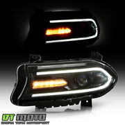 2015-2019 Dodge Charger Halogen Led Drl Projector Headlight - Driver W/o Logo