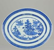 Antique 18c Large Serving Plate Jiaqing Qing Chinese Porcelain Blue And White