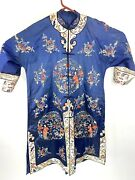 Antique 1920s Spectacular Chinese Silk Hand Embroidered Rich Blue Robe Rare