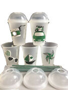 Starbucks Summer Art Reusable Cup Cold Set Siren W/ Dome Lid Camera Jeep -x Card