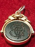 18k Antique Victorian Engraved Bloodstone And Carnelian Wax Seal Fob, Pendant