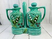 Vintage Vinegar And Oil Bottles Tray Green Lilly Of Valley Stopper Made In Japan