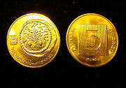2 24k Gold Plated Ancient Widow's Widows Mite On Israel Israeli 5 Agorot Coins