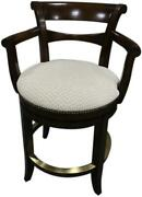 Woodbridge Counter Stool Round Seat Tapering Saber Legs Curved Scrolled Arm